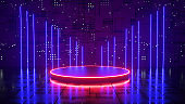 Neon background, a space illuminated by blue neon light, ultraviolet light. Podium with red neon light.