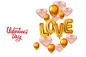 Happy Valentines Day, Love gold helium metallic glossy balloons realistic text, lettering, heart shape flying pink balloons, party, decoration, greeting card. Vector banner flyer isolated