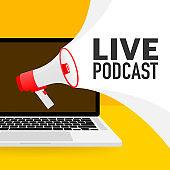 Live webcast yellow banner, icon. Vector design illustration.