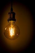old led lamp shines warm light