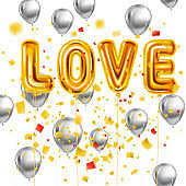 Love gold helium metallic glossy balloons realistic text, burst foil confetti ballons. Background design happy Valentines Day, party, decoration, greeting card. Vector banner flyer isolated