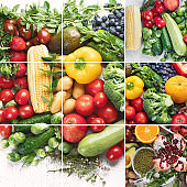 Collage of healthy diet background.