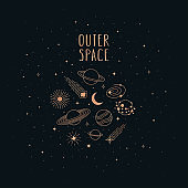 Hand drawn vector doodle of Space objects and symbols