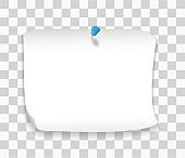 White paper sheet, note with blue pin