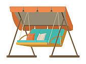 Wooden Garden Swing With Pillows