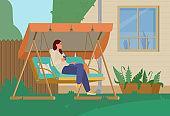 Young Woman Relaxing In Garden Swing