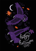 Halloween card with crows and leaves. Vector graphics.