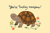 Postcard with a cute turtle. Vector graphics.