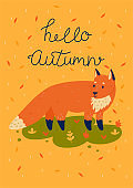 Autumn card with a fox and the inscription hello autumn. Vector graphics.