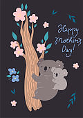 Mother s day card with cute koalas. Vector graphics.