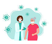 The grandmother is being vaccinated against the coronavirus. Coronavirus vaccine. Doctor with a syringe. Vector illustration.