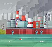 Environmental pollution vector illustration. Air pollution, pollutant fog gas and industrial smog.
