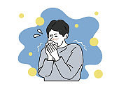 cold - fever, cough, sore throat, snot, chills, dizziness. Collection of sick or ill men and women. Flat vector illustration.