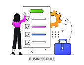 Business rule concept. Office worker check rules and thinking about work.