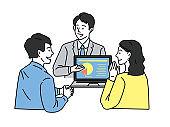 Couple future design illustrations estimate, investment, negotiation, sales, accruals, taxes, deals, sales, presentations, contracts, plans