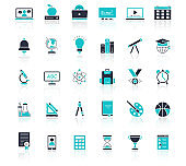 Education icons set. Black and white with lines. Isolated on white background. Can be used for mobile concepts and web applications, brochures, social networks. Flat style vector illustration.