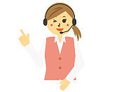 Vector illustration of a telephone operator wearing a headset.