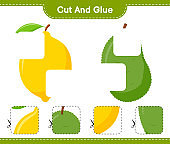 Cut and glue, cut parts of Fruits and glue them. Educational children game, printable worksheet, vector illustration