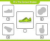 Find the correct shadow. Find and match the correct shadow of Sneaker. Educational children game, printable worksheet, vector illustration