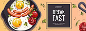 Promo banner with Pan with scrambled eggs, sausages, tomatos. Healthy eating, nutrition, diet, cooking, breakfast menu, fresh food concept.