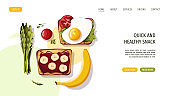 Toast with scramled eggs and tomato. Sweet toast with bananas. Healthy eating, nutrition, diet, cooking, breakfast menu, fresh food concept. Vector illustration for banner, website, poster.