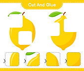 Cut and glue, cut parts of Lemon and glue them. Educational children game, printable worksheet, vector illustration
