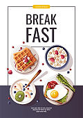 Toast with scrambled egg, yogurt with fruits, waffles, corn rings. Healthy eating, nutrition, cooking, breakfast menu, fresh food concept.
