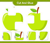 Cut and glue, cut parts of Apple and glue them. Educational children game, printable worksheet, vector illustration