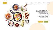 Pan with scrambled eggs, pancakes, yogurt, waffles, toast, donut, avocado. Healthy eating, nutrition, cooking, breakfast menu, fresh food concept.
