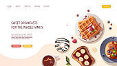 Pancakes, belgian waffles, sweet toast, donut, cup of tea. Healthy eating, nutrition, cooking, breakfast menu, dessert, recipes, pastry concept.
