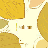 Autumn leaves, lettering Hello autumn. Autumn banner for advertising, sales. Vector illustration in yellow and brown colors.