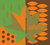 Lettering Hello autumn, fall leaves. Autumn banner for advertising, sales. Vector illustration in orange, green and brown colors.