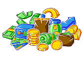 Banking background with money icons. Business concept with finance items.