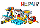 Background with repair working tools. Equipment for construction industry.