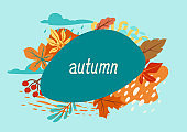 Floral background with autumn foliage. Illustration of falling leaves.