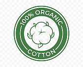 Organic cotton icon, 100 natural bio and eco product vector logo. 100 percent organic cotton tag for textile clothes, green vegan cosmetics and sanitary pads or cosmetic ingredients