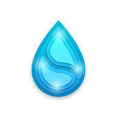 Blue Aqua Paper Cut Abstract Waterdrop Wave Drop Logo Origami Template Vector Design Background Concept For Cards Posters Flyers Splash Save Pure Nature