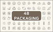 Set of 48 packaging symbol and recycling line style.