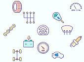 Car parts and car service element Vector illustration.