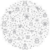 Simple Set of insect and bug Related Vector Line Illustration.