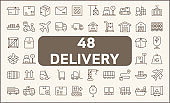 Set of 48 logistics and delivery Icons line style.