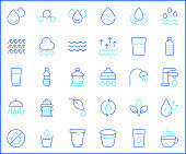 Set of water and drinks icons line style.
