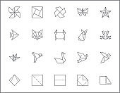 Set of origami and paper line style.