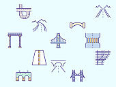 Bridge and road element Vector illustration.