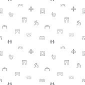 Seamless pattern with bridge and road icon on white background.