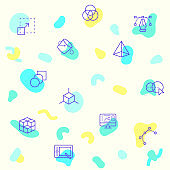 Seamless pattern on the theme of design, development, designing, digital art, outline, art, graphic design, Pen tool, Color and more.