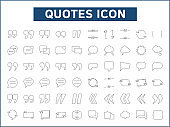 Set of 60 Quotes and speech bubble line style.