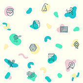 pattern on the theme of bee, honey, organic, sweet, natural, fresh, apiary, beehive, honey jar, spoons, honeycombs and more.