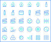 Set of packaging and recycling Icons line style.