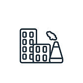 Industrial building outline vector icon. Thin line black industrial building icon, flat vector simple element illustration from editable army concept isolated on white background.